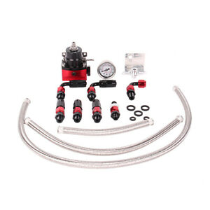 Black red Adjustable Fuel Pressure Regulator Kit Oil 0 100psi Gauge 6an