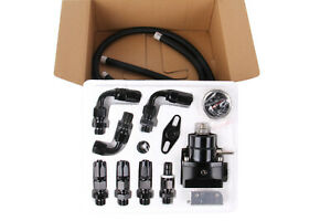 Adjustable Fuel Pressure Regulator Kit Oil 0 100psi Gauge 6an Black
