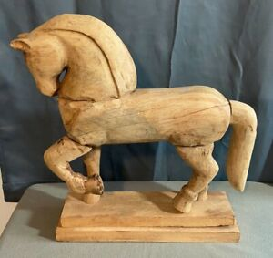 Hand Made Wood Carved Horse Display