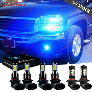 8000k Blue Led Headlights Fog Bulbs For Gmc Sierra 1500 2500 Hd 3500 2001 2006