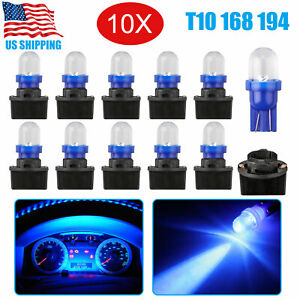 10x Ice Blue T10 194 Led Bulbs Instrument Panel Cluster Dash Light 10 Sockets