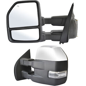 Towing Mirrors For 2015 2020 Ford F150 Power Heated Signal W sensor Chrome 8 Pin