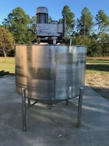 600 Gallon High Shear Mixing 304 Stainless Steel Tank 7 5 Hp 1750 Rpm
