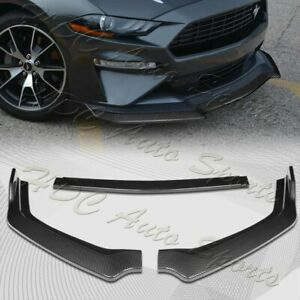 For 2018 2020 Ford Mustang Carbon Look Gt style Front Bumper Body Kit Lip 3pcs