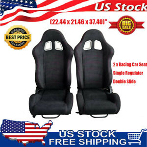 2pcs Universal Red Thread Black Cloth Reclinable Bucket Seat Sport Racing Chair