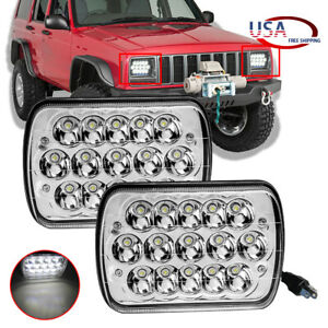 5x7 7x6 H4 Led Headlights For 1986 1995 Jeep Wrangler Yj 1984 2001 Cherokee Xj