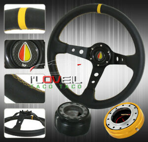 Civic Type R 350mm Steering Wheel Black Yellow Hub Adapter Short Quick Release