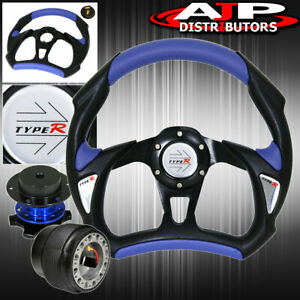 Leather Steering Wheel Blue Quick Release Adapter Type R Horn For 90 93 Integra
