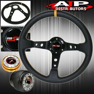 For 93 97 Del Sol Hub Gold Release Deep Dish Black Steering Wheel Yellow Godsnow