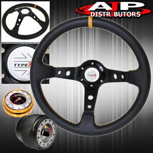 For 94 01 Integra Hub Gold Release Deep Dish Black Steering Wheel Yellow Type r