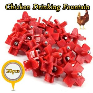 20 Pcs Chicken Poultry Water Nipple Fountain Automatic Chicken Water Cups Red