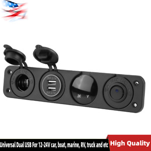 Universal Toggle Rocker Switch Panel Dual Usb Car Boat Marine Rv Truck 12v 24v