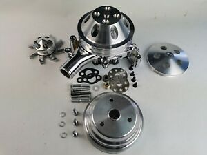 Sbc Aluminum 2 Groove Long Water Pump Pulley Kit W long Water Pump 327 350 400