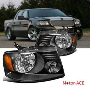 Motor Ace Fit For 2004 2008 Ford F150 Headlights Black Amber Reflector Pair