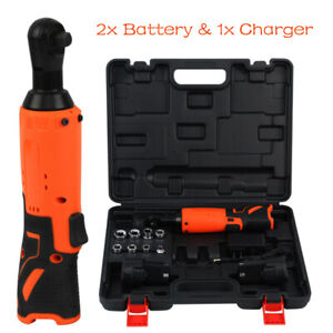 3 8 Electric Cordless Ratchet Wrench Right Angle Set W 2 Batteries 8 Socket