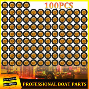 100x Round 3 4 Led Bullet Light Mini Truck Trailer Amber Side Marker Lights 12v