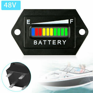 48v Lead Acid Battery Indicator Meter Gauge Detector For Car Golf Cart Motor