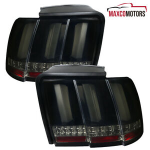 For 99 04 Ford Mustang Glossy Black Smoke Tail Lights Sequential Led Signal Lamp