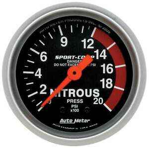 Autometer 3328 Gauge Sport Comp Nitrous Pressure 2 000 Psi 2 1 16 Mechanical