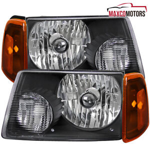 Fits 2001 2011 Ford Ranger Black Headlights W Corner Amber Parking Lamps 01 11