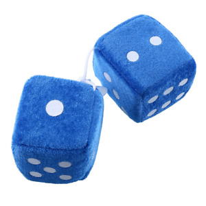 D957 Pair Blue Fuzzy Plush Dice White Dots Rear View Mirror Hangers Car Auto