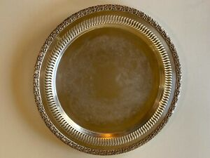 Vintage Round Silver Plate Tray Camelot 6170 By International Silver Co