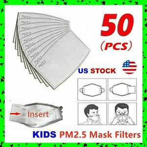 50 Pack Child Pm2 5 5 Layer Carbon Face Super Fresh Air Mask Filter Replacements