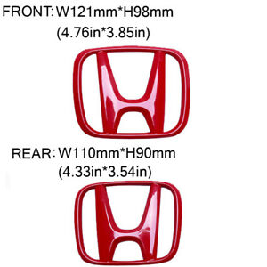 2016 2020 Red Front Rear H Emblem Badge For Honda 10th Gen Civic Sedan 4door