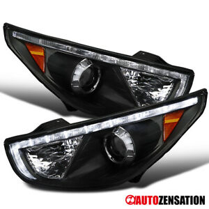 For 2010 2013 Hyundai Tucson Led Drl Strip Black Projector Headlights Lamps Pair