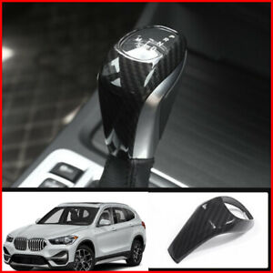 Real Carbon Fiber Car Interior Gear Shift Knob Cover Trim For Bmw X1 2016 2019