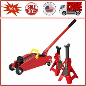 Big Torin Hydraulic Trolley Floor Jack Combo With 2 Jack Stands 2 Ton Capacity