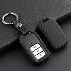 Car Key Case Cover For Honda Civic 2014 2020 2021 Carbon Fiber Look Accessories