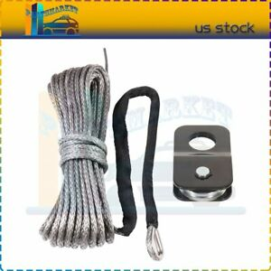 10000lbs Synthetic Winch Tow Rope Recovery Cable Off Road Wire W Snatch Block