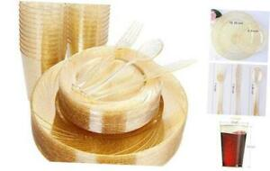 150pcs Gold Plastic Plates With Disposable Plastic Silverware gold Cups Gold G