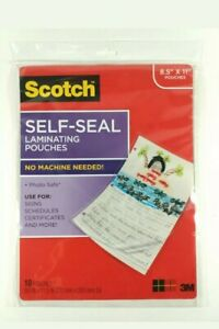 Scotch Self Seal Laminating Pouches 10 Pack New