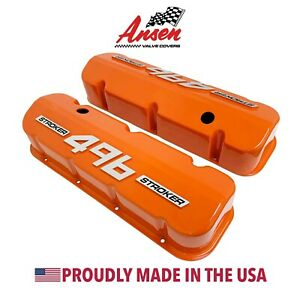 Big Block Chevy 496 Stroker Tall Valve Covers Orange With Raised Logo Ansen