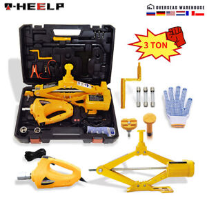 Car Jack Lift 3 Ton 12 V Electric Scissor Floor Jack With Impact Wrench Tool Kit
