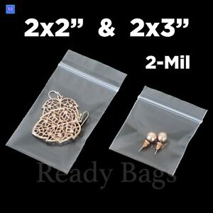 Clear Small Zip Lock 2 x 2 2 x 3 Plastic Bags 2mil Reclosable Jewelry Baggies
