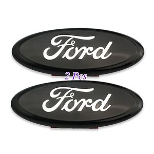 9 Inch 2005 14 Ford F150 Black Chrome Front Grille Tailgate Oval Emblem 2pcs