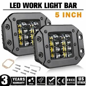 5inch 300w Flush Mount Quad Row Led Work Light Bar Combo Fog Driving Offroad 4wd
