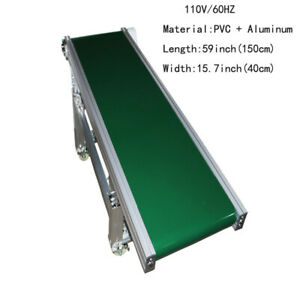Adjustable Height 110v 59 lx15 7 w Green Pvc Belt Inclined Wall Conveyor System