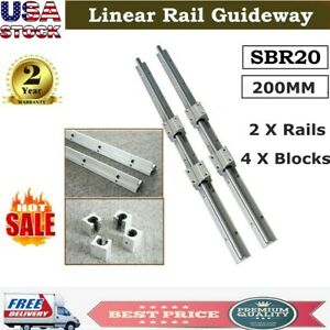 Sbr20 Linear Rail Slide Guide 200mm 2x Shaft Sbr20uu Block Bearing Cnc Set Usa