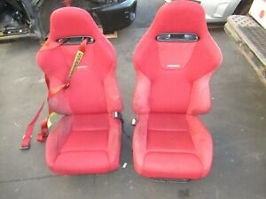 Jdm Honda Civic Type R Ep3 Recaro Front Seats Rails 2001 2005 Red Ctr Recaro