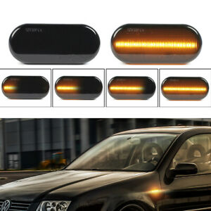2x Smoke Sequential Led Side Marker Blinker Light For Vw Golf Mk4 Gti R32 Jetta