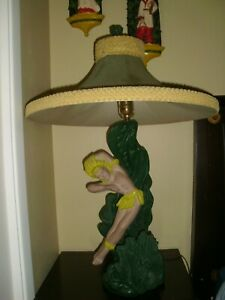 Vintage Reglor Of California Mid Century Hawaiian Style Chalkware Table Lamps