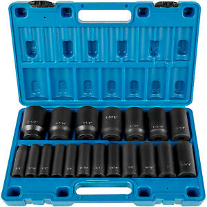 Vevor Impact Socket Set 1 2 Inch Drive 19pcs 3 8 Inch To 1 1 2 Inch Deep Sae
