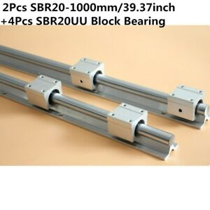 Sbr20 800mm 20mm Linear Slide Guide Shaft 2 Rail 4sbr20uu Bearing Block Cnc Set