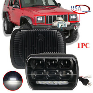 7x6 Led Halo Drl Headlight For 1986 1995 Jeep Wrangler Yj 1984 2001 Cherokee Xj
