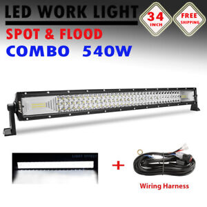 34inch Led Light Bar Offroad Truck Spot Flood Combo 32 For Jeep Rzr Ford Atv