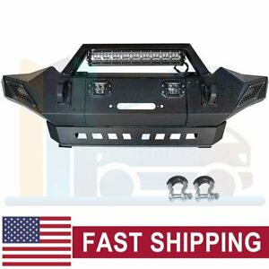Offroad Front Bumper Guard With Led Lights Winch Plate For 05 15 Toyota Tacoma